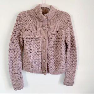 Moda Int'l Blush Taupe Chunky Knit Wool Cardigan S